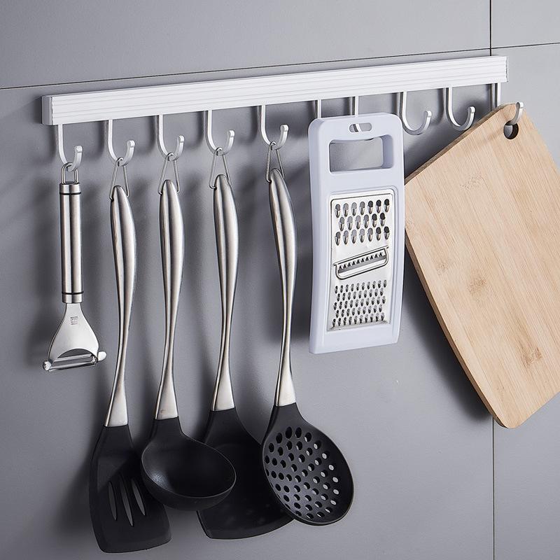 [¥6.9]免打孔冼手间厨房防水挂杆太空铝合金挂衣勾挂钩排钩厨卫五金挂件