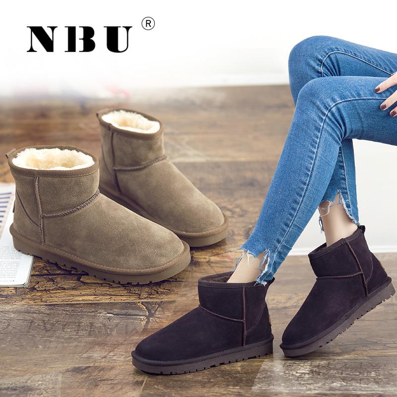 NBU真皮雪地靴女短靴子短筒雪地棉鞋男女鞋秋冬季加绒学生面包鞋