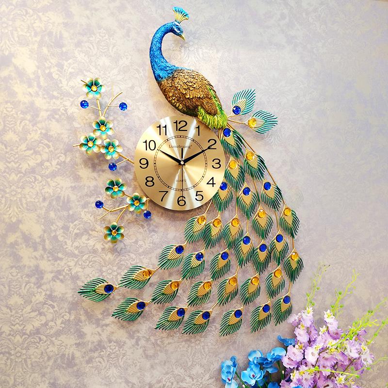 恋妆孔雀挂钟欧式钟表客厅挂表壁钟静音夜光石英钟时钟挂钟 客厅