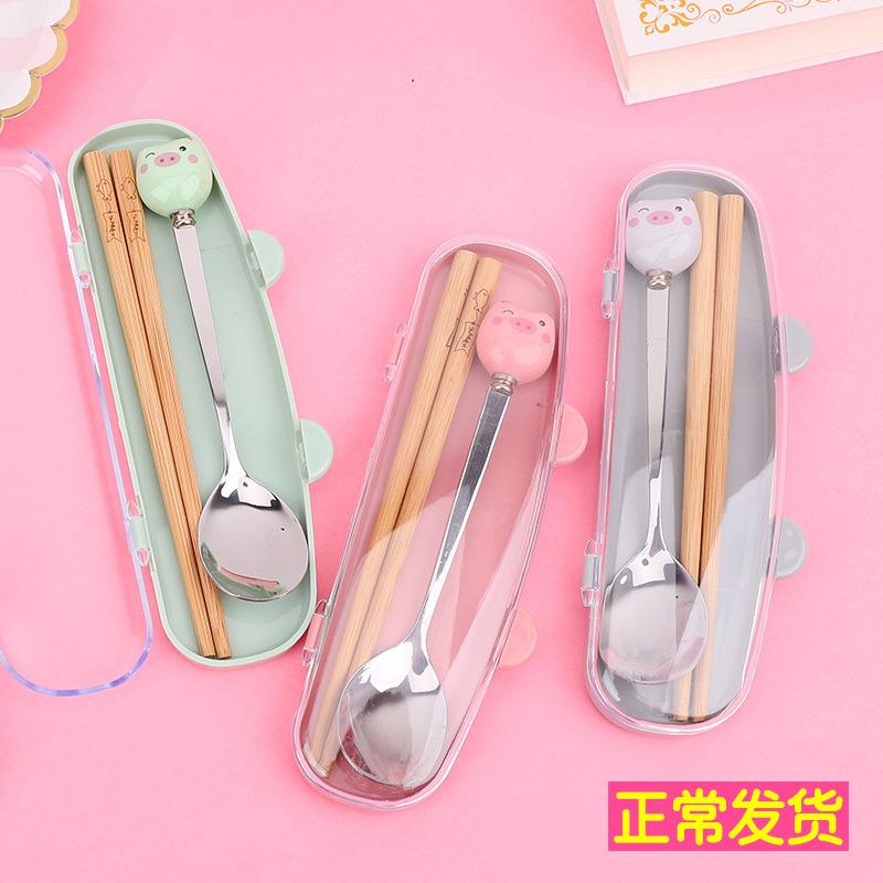 筷子勺子套装木质儿童餐具套装勺筷小学生便携式单人装两件套旅行