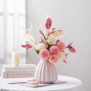 花艺摆件轻奢花瓶客厅插花仿真干花装饰陶瓷餐桌桌面北欧家居饰品