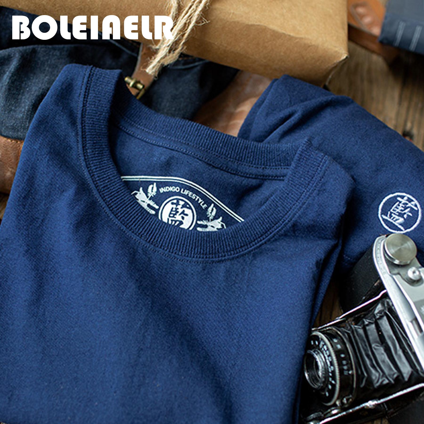 BOLEIAELR/亲肌肤 手工220g植物蓝染短袖T恤男圆领indigo纯色情侣