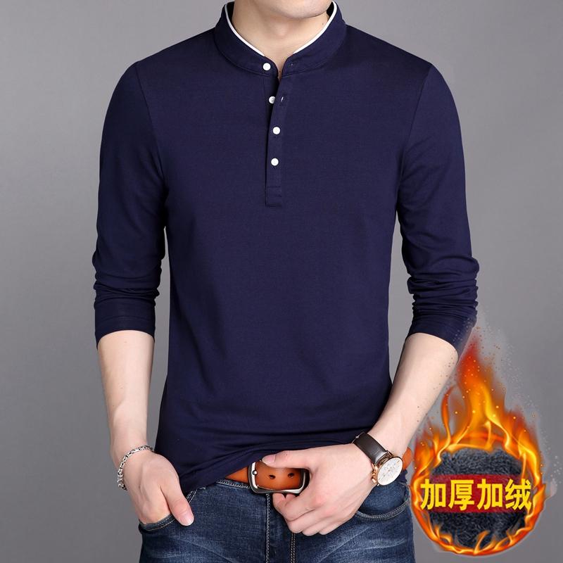 秋冬季男士长袖t恤青年男装新款修身纯色加绒加厚立领纯棉打底衫