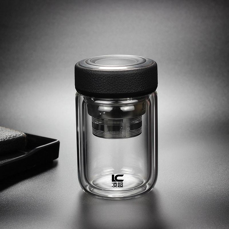 耐热双层玻璃杯办公室茶杯圆润水杯男女士杯子矮胖泡茶加厚皮纹盖