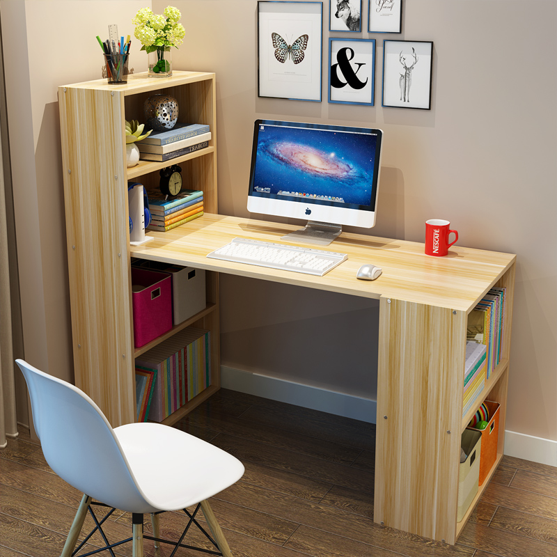 儿童书柜书桌一体书架组合简约家用女孩男孩经济型单人学生写字桌