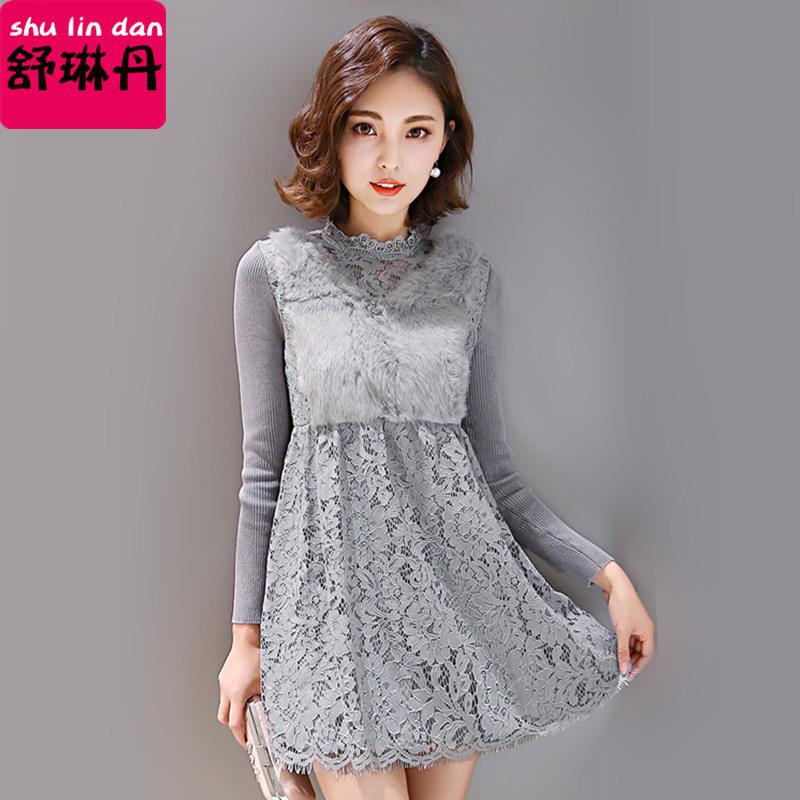 加绒蕾丝中长款裙子冬装女式立领收腰遮肚子长袖大摆加厚连衣裙潮