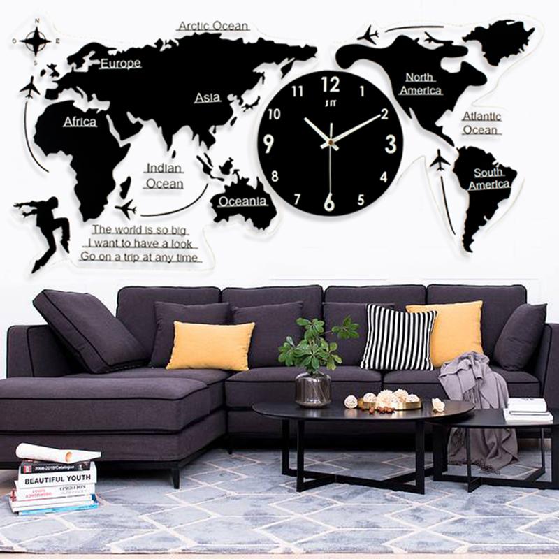 北欧简约钟表 创意世界地图挂钟 超大时尚亚克力现代客厅静音时钟