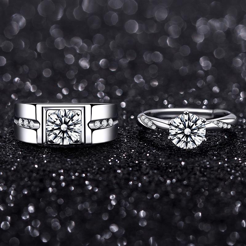 莫桑石戒指情侣钻戒男女纯银 18k白金六爪80分结婚指环情人节礼物