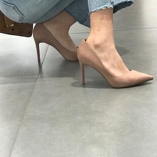 高跟鞋女细跟2020秋冬新款尖头裸色网红仙女风职业工作百搭女鞋子图片