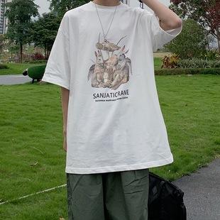 SANJATI 天使兔子蘑菇印花宽松短袖T恤 国潮男女情侣潮牌清仓款