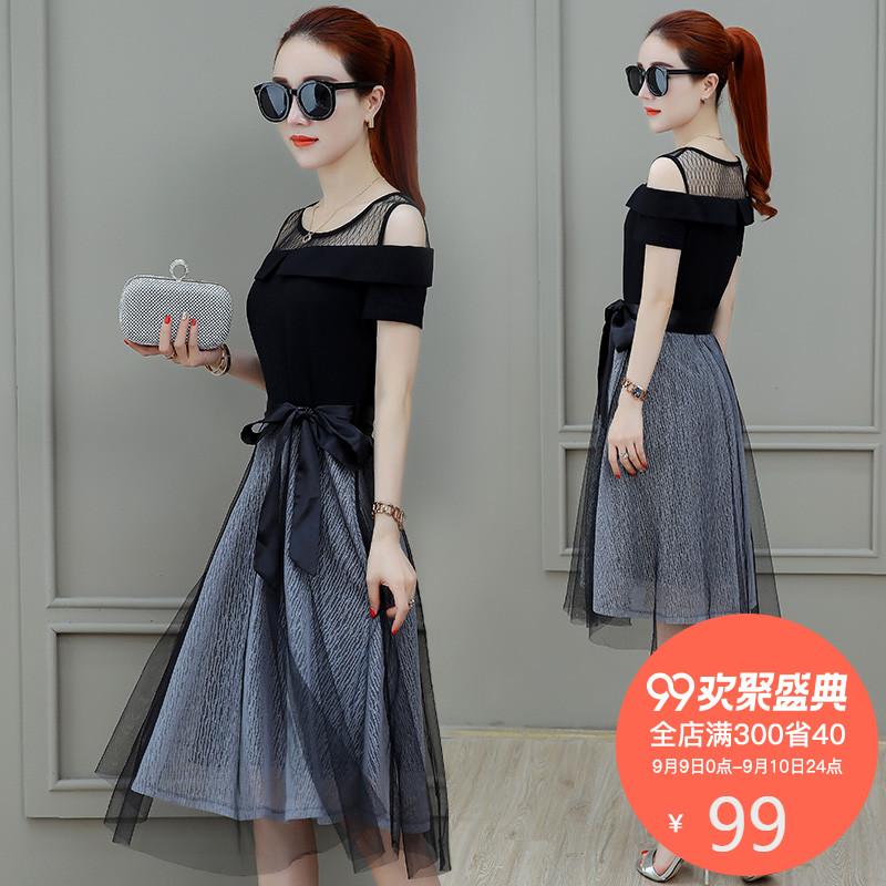 2018新款夏装连衣裙女装修身显瘦收腰网纱漏肩夏季气质中长款裙子