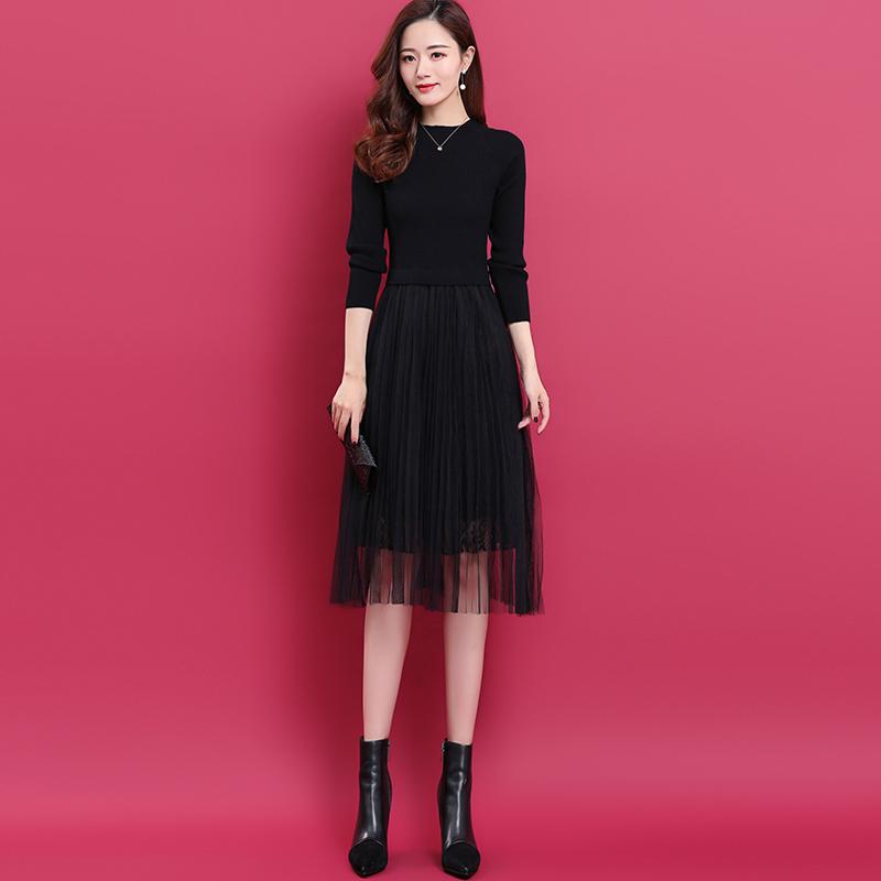 小个子显高蕾丝裙羊毛连衣裙中长款气质显瘦网纱裙春秋针织打底裙