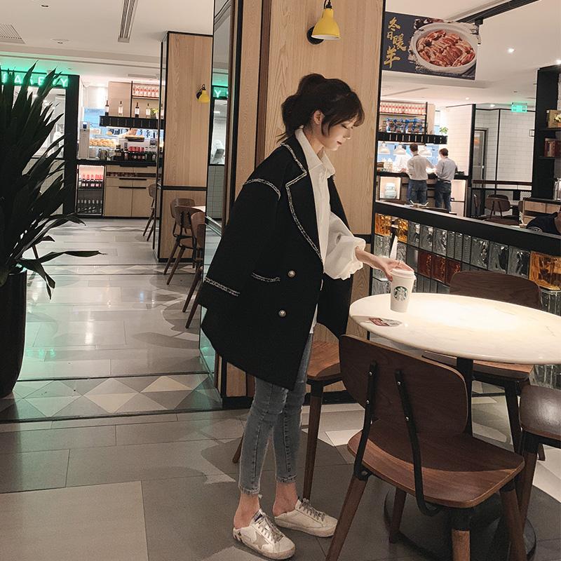 小香风西装外套女森系chic英伦风西服韩版春2019流行复古休闲ins