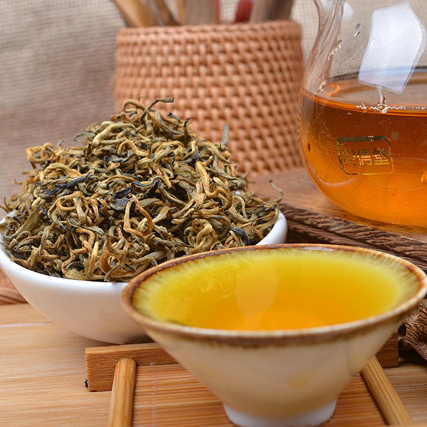 高档茶皇金芽蜜香滇红茶500克 大号曲条金骏眉味大叶古树头春红茶