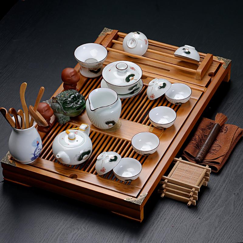 紫砂陶瓷功夫茶具家用套装大号实木杯架排水茶盘茶台茶道配件整套