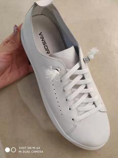 温莎专柜正品牛皮小白单鞋时尚休闲