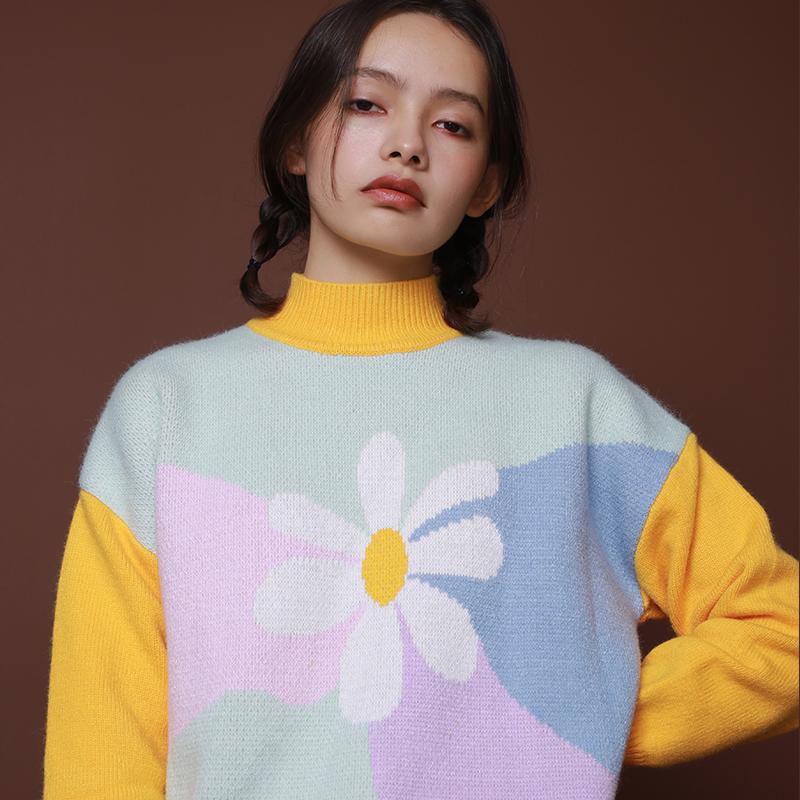 AlikeUnlike  少女感花朵拼色柔软加厚宽松套头毛衣2018冬装新款