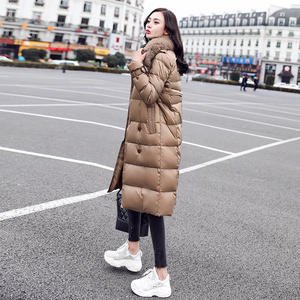 2019 new women's winter long down jacket female fox fur collar long knees double breasted white duck down jacket thickened