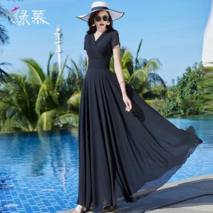 2020夏季新款长款黑色雪纺连衣裙气质V领收腰显瘦到脚踝大摆长裙