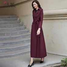 绿慕2021秋装新款女1r8风衣双排1q质修身长款过膝酒红色外套