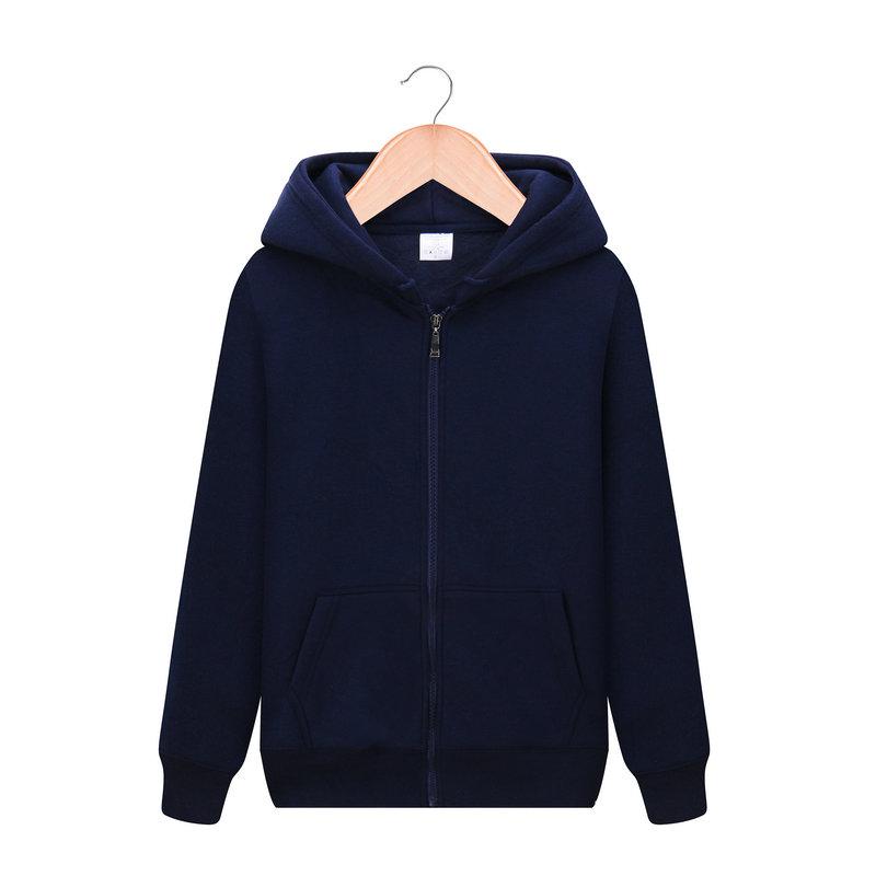 逸朗晟秋冬季大码开衫男士加绒拉链卫衣纯色外套 连衣帽学生运动