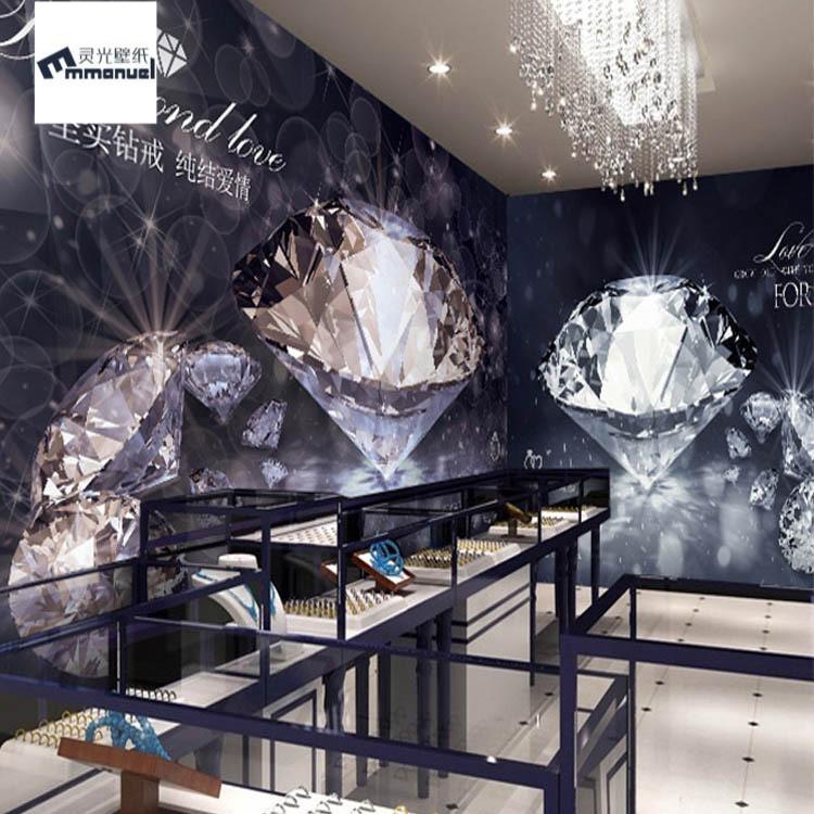 3D钻石珠宝钻戒壁纸橱窗婚纱服装店装修高档首饰珠宝店背景墙纸