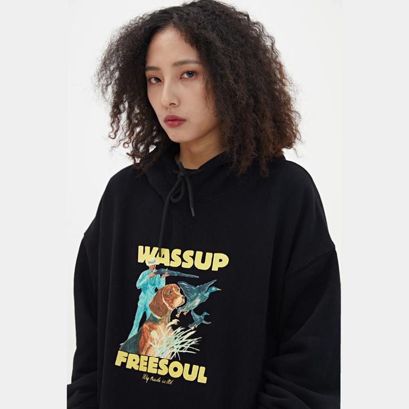 WASSUP2019新款秋季卫衣猎狗印花潮牌连帽街头宽松外套情侣装男女