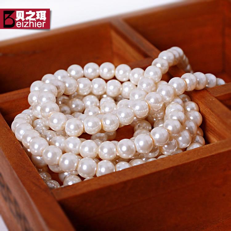 韩版人造珍珠项链长款毛衣链 春夏简约多层民族风长项链配饰品女