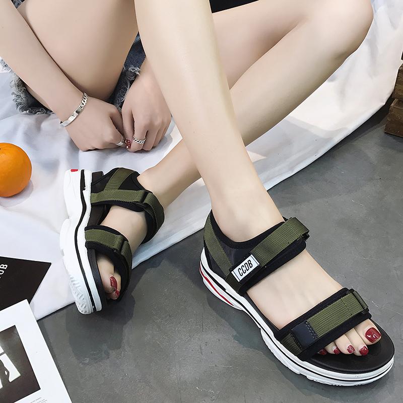 凉鞋女夏平底2018新款韩版ins女鞋复古罗马魔术贴厚底鞋女