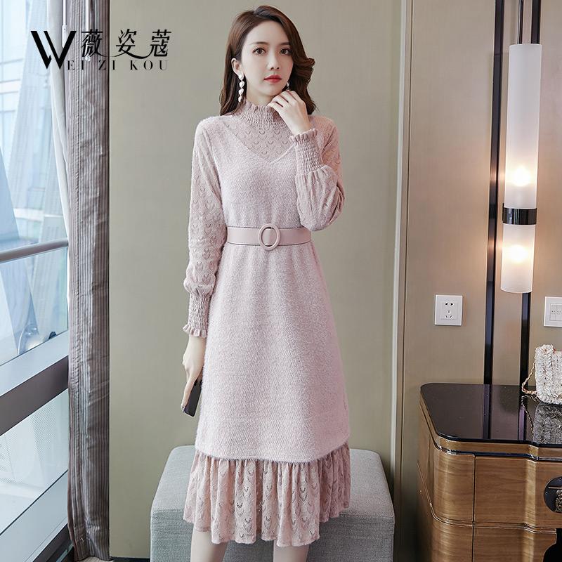 秋冬季连衣裙冬裙新款女气质打底蕾丝内搭配大衣的中长裙子加厚绒