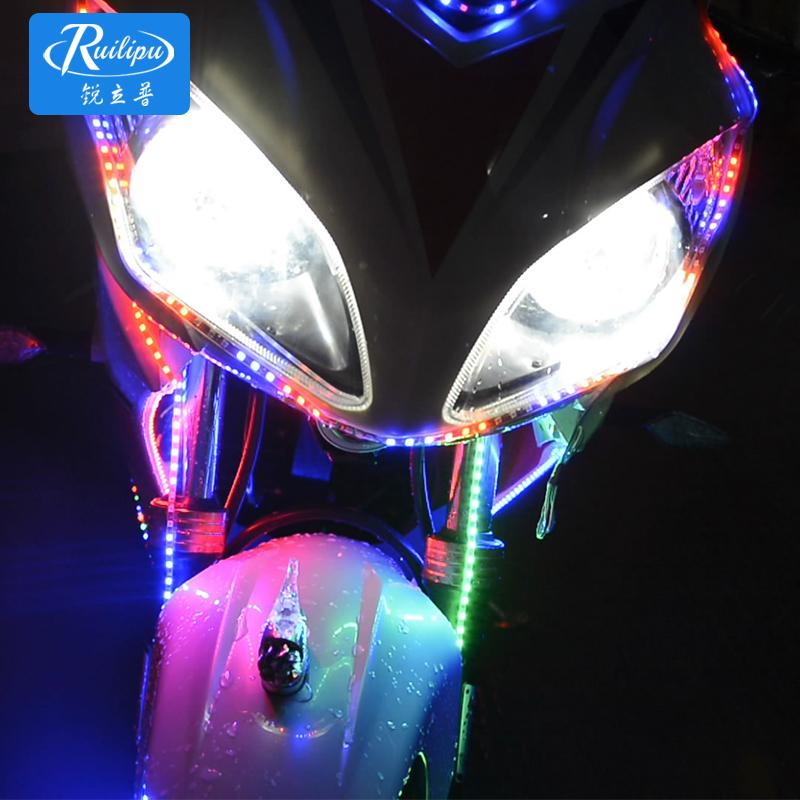 锐立普摩托车彩灯改装七彩爆闪灯led灯条鬼火装饰品个性改装通用