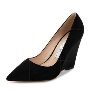 欧美新款春秋磨砂浅口单鞋坡跟绒面尖头跟鞋女士高跟鞋黑色单跟鞋