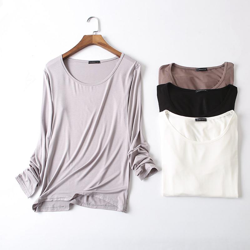 2020夏季新款韩版莫代尔长袖t恤女装薄款宽松百搭纯色打底衫秋衣