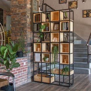 铁艺隔断置物架办公室屏风花架餐厅装饰玄关架客厅工业风网红书架图片