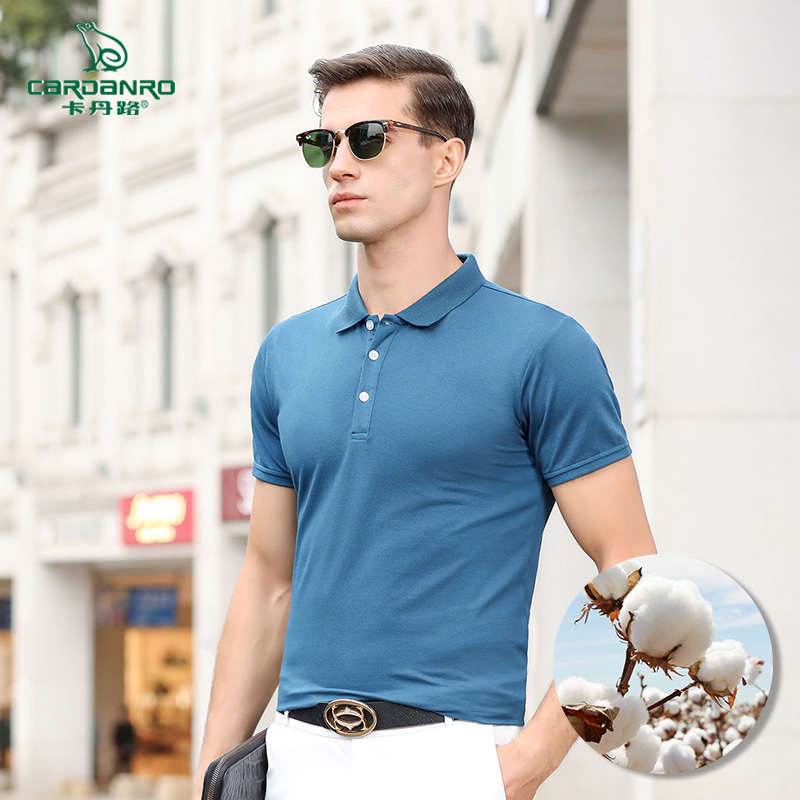 卡丹路短袖t恤男潮牌潮流宽松港风POLO衫青年韩版休闲衬衫领上衣