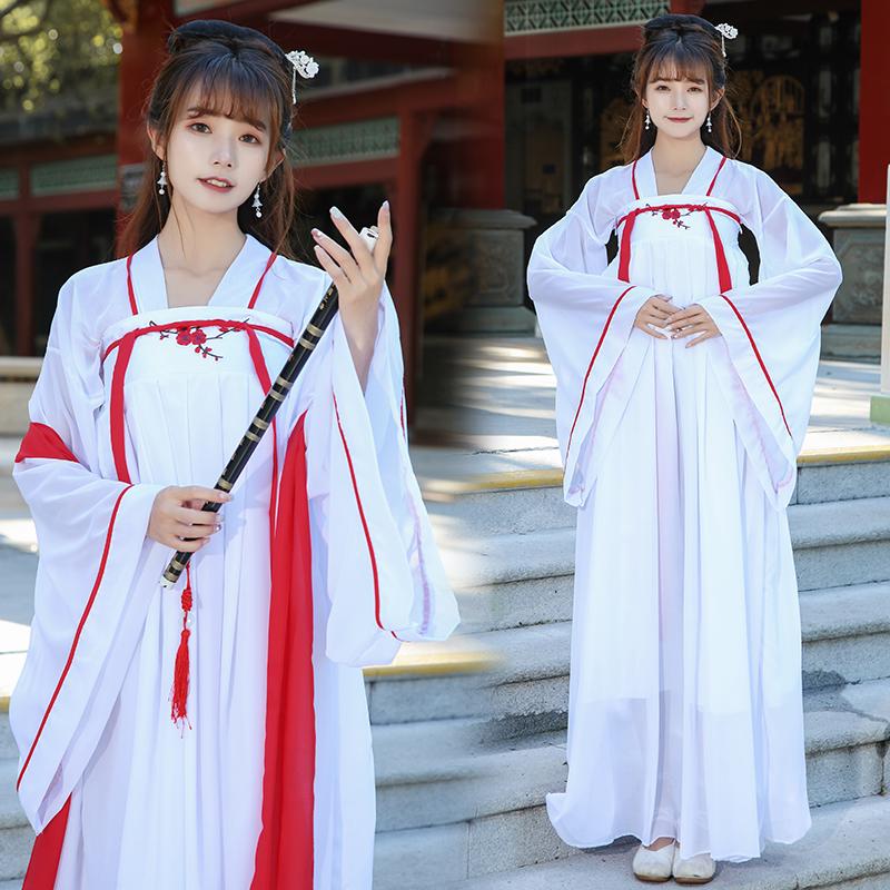 新款古装日常汉服女装绣花齐胸襦裙古风广袖仙女装汉元素春夏套装
