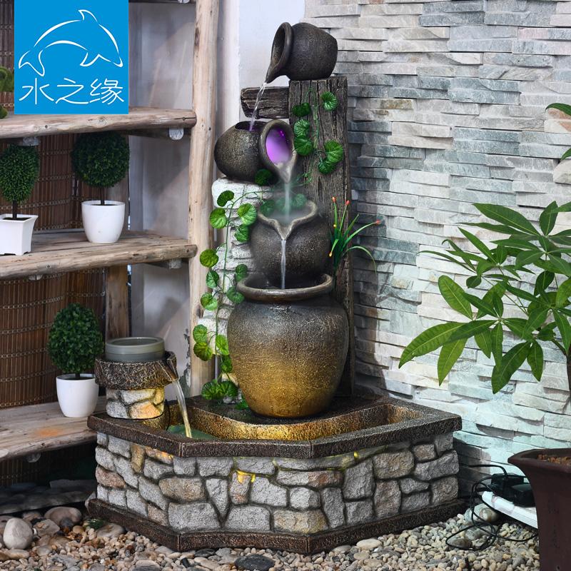 假山流水喷泉摆件落地客厅阳台户外花园庭院水景养鱼池风水招财