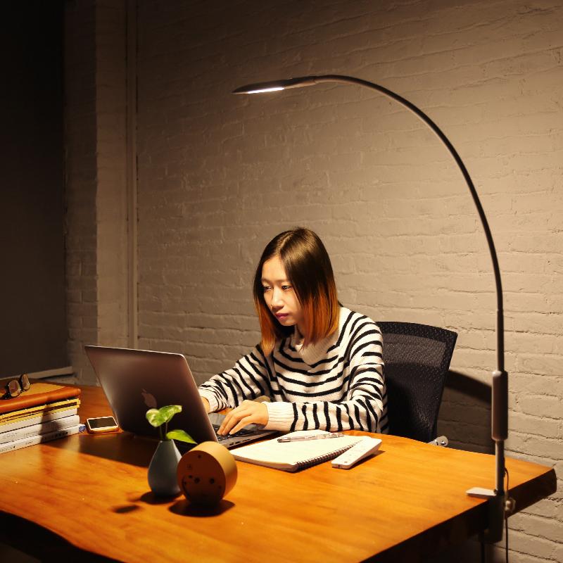 led台灯夹子工作办公室电脑护眼灯书桌学生床头阅读长臂可夹子式-菲普顿旗舰店