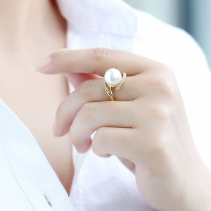 Pearl ring female S925 sterling silver simple gold natural bead live ring ring hand jewelry index finger ring tail ring