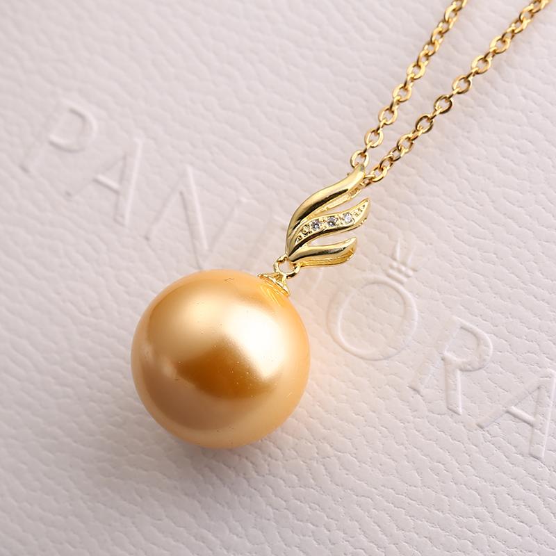 珍珠单吊坠女单颗韩国气质S925纯银项链简约锁骨链天然贝珠项坠子