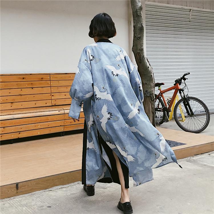 原宿bf复古日式和风仙鹤中长款和服开衫宽松下摆开叉薄外套女披肩