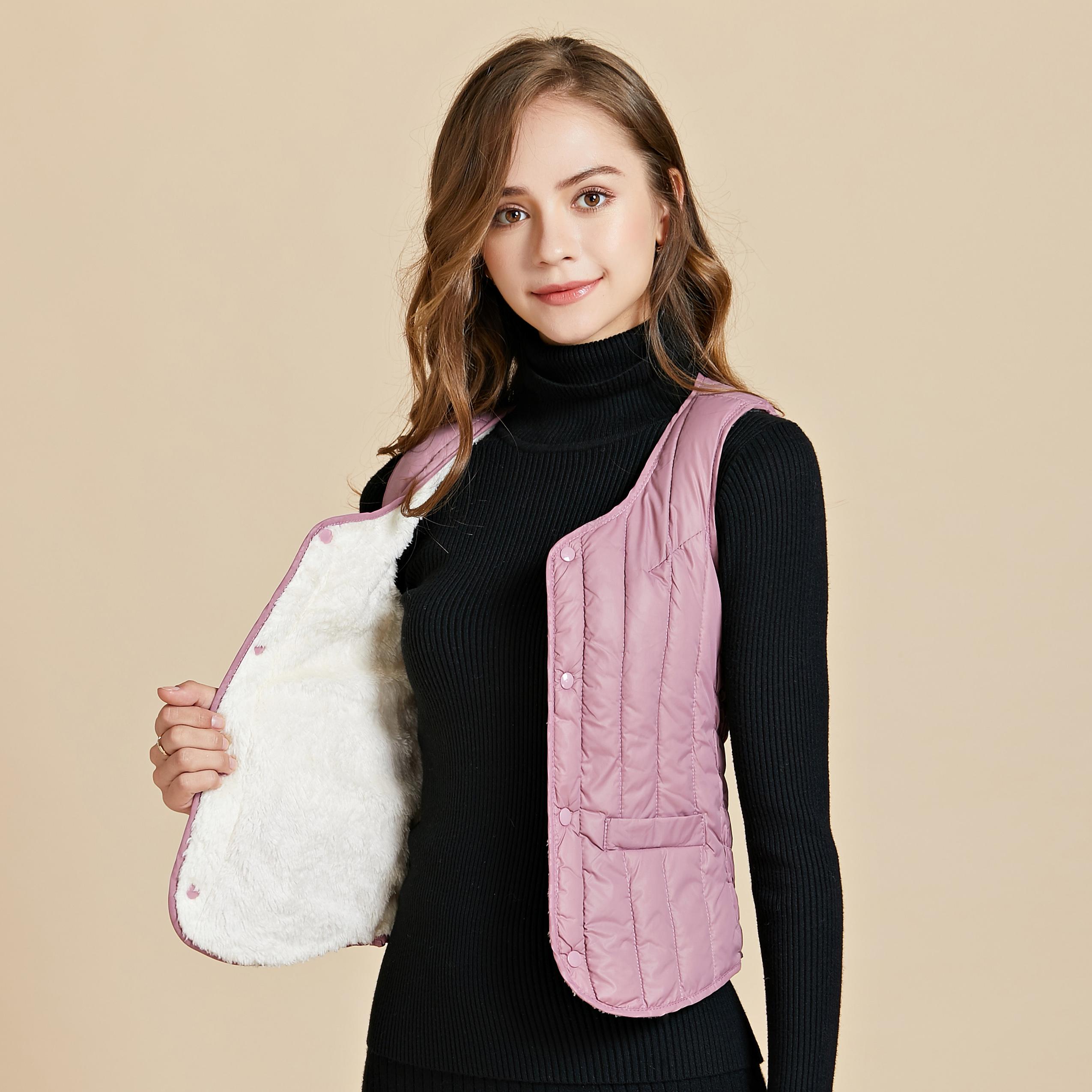 韩版冬季女士羊羔绒加厚内穿马甲显瘦羽绒棉打底坎肩短款保暖背心