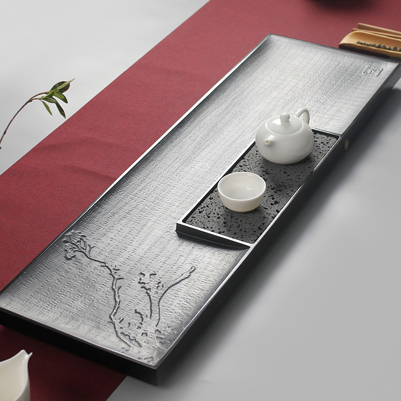 鸿艺 天然整块乌金石茶盘套装干泡功夫茶具茶台 家用储水小号茶托