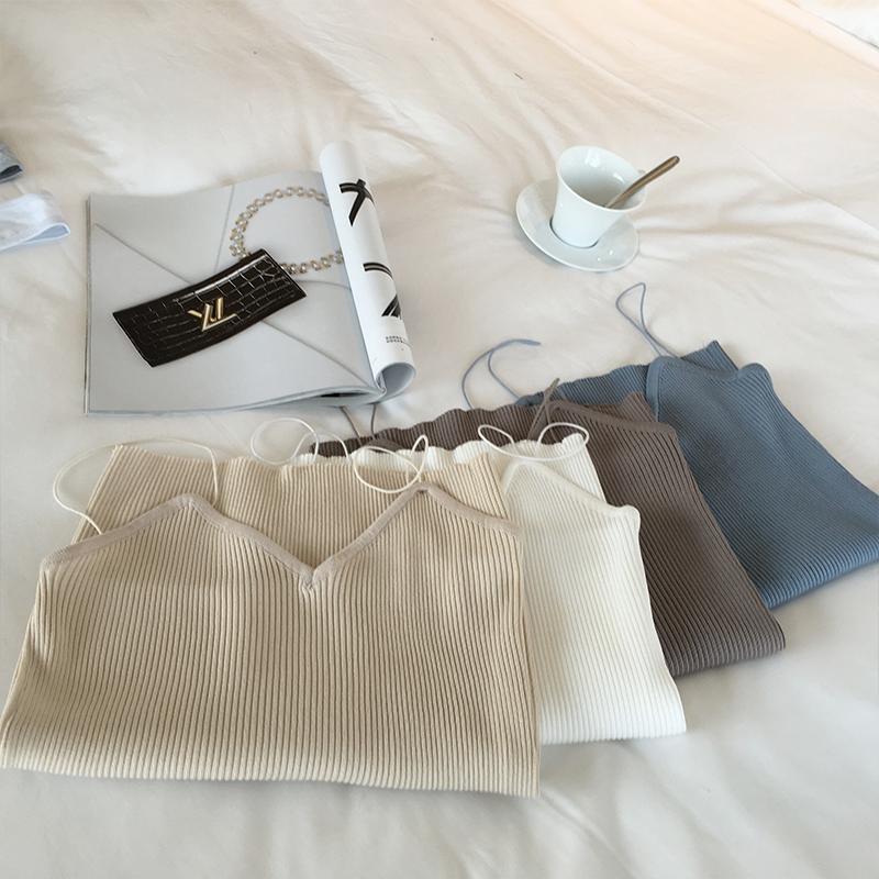 夏季女装新款短款针织打底衫竖纹上衣性感小衫显瘦细吊带背心女