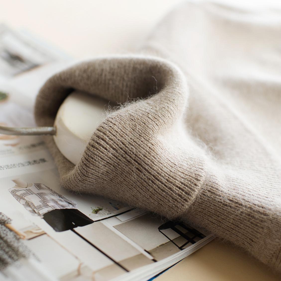 高领100%羊绒衫女纯羊绒修身显瘦秋冬加厚打底针织衫短款套头毛衣