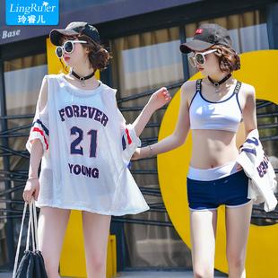 分体游泳衣女夏三件套装保守2021年新款时尚遮肚显瘦韩国ins温泉