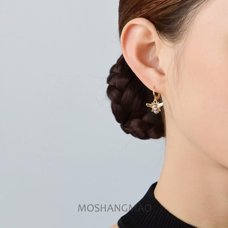原创手作925银镀14K金时尚个性耳扣蜜蜂吊坠耳环送女生防敏耳饰品