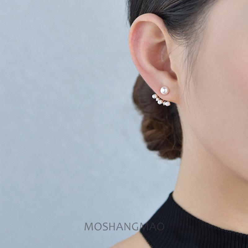 原创S925银镀14K金天然淡水珍珠耳钉后挂时尚气质钻耳环防过敏