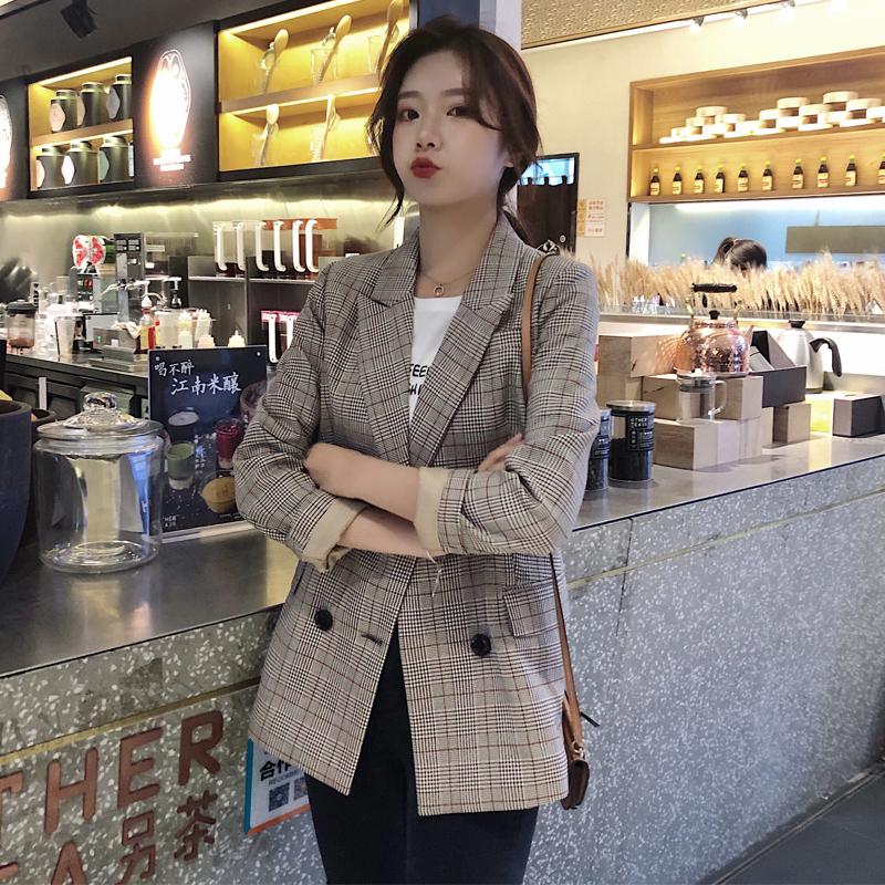 格子小西装外套女秋季韩版网红休闲春秋2019新款英伦风西服上衣