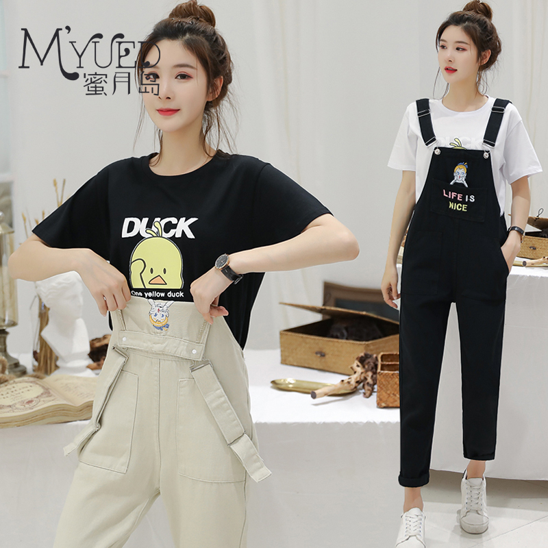 减龄背带裤女韩版宽松显瘦2019春夏季牛仔学生可爱两件套九分套装